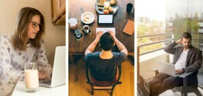 People working from different places